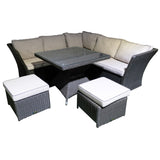 Hampton 6 Seater Outdoor Wicker Corner Lounge Set - DECOR STAR