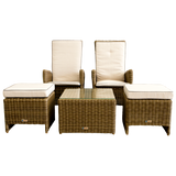 Kew 3 Piece Outdoor Wicker Recliner Lounge Set - DECOR STAR
