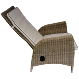 KEW - Outdoor Wicker Recliner Highback Armchair with Footstool