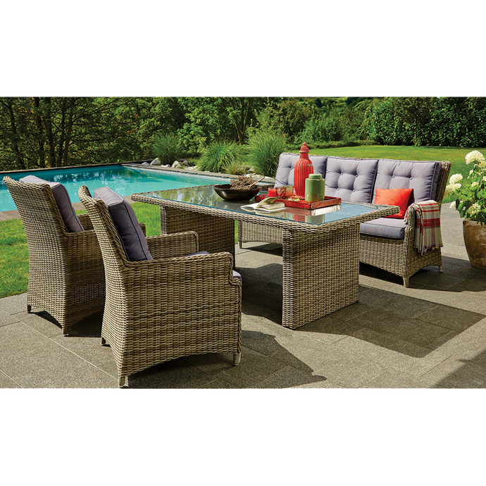 ALPHINGTON - Quality 5 Seaters Outdoor Wicker Large Rectangle Table Dining Set
