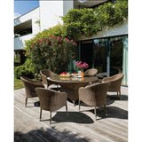 Clifton Hill 7 Piece Outdoor Wicker Large Round Dining Set - DECOR STAR
