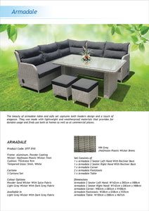 ARMADALE - 8 Seater Outdoor Recliner Lounge Setting