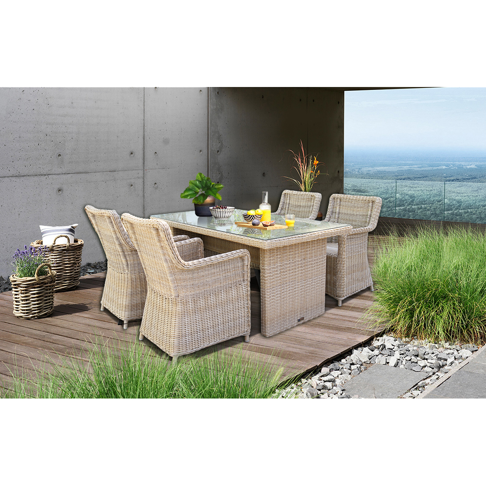 PRE-ORDER ASHBURTON - 5 Piece Outdoor Wicker Rectangle Table Dining Set - Furniture Star Direct
