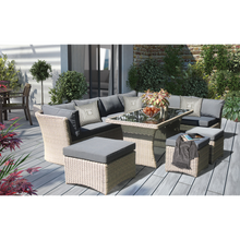 BRIGHTON - 8 Seater Outdoor Wicker Rectangle Dining Table Lounge Set