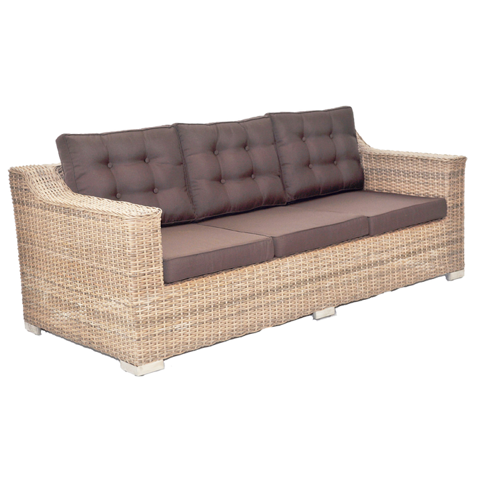 BEAUMARIS - 3 Seat Luxury Outdoor Wicker Wide Armrest Sofa - Furniture Star Direct