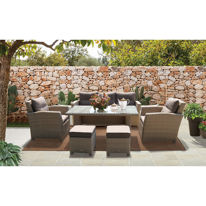 CAMBERWELL - Exclusive 7 Seater Outdoor Wicker Rectangle Dining Table Set