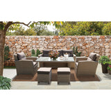 Camberwell 7 Seater Outdoor Wicker Dining Lounge Set - DECOR STAR