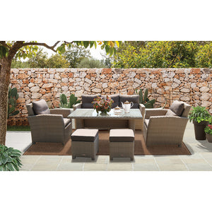 PRE-ORDER CAMBERWELL - Exclusive 7 Seater Outdoor Wicker Rectangle Dining Table Set - Furniture Star Direct