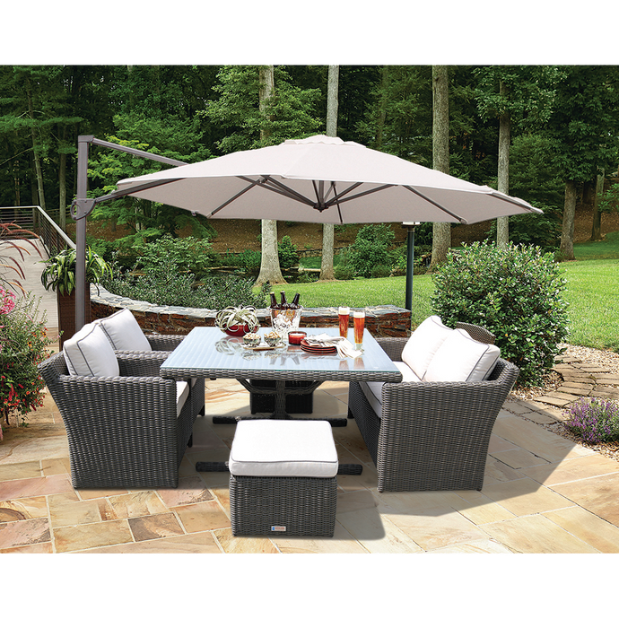 CARLTON - 6 Seater Outdoor Wicker Stylish Square Table Dining Set