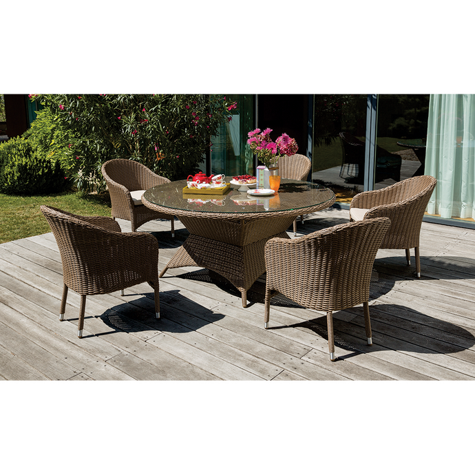 CLIFTON HILL - Spacious 7 Piece Outdoor Wicker Round Table Dining Set