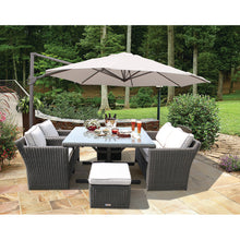 PRE-ORDER CARLTON - 6 Seater Outdoor Wicker Stylish Square Table Dining Set - Furniture Star Direct