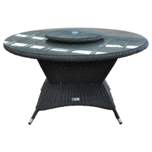 Outdoor Wicker Large Round Dining Table with Lazy Susan