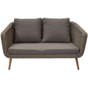 Vermont Outdoor Timber Wicker Double Seater Sofa