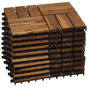 VICTORIA - 10pcs Modular Acacia Timber Decking Garden Flooring Tiles - Furniture Star Direct