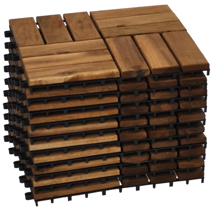VICTORIA - 10pcs Modular Acacia Timber Decking Garden Flooring Tiles