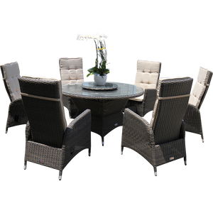 PRE-ORDER RICHMOND - Outdoor Wicker Dining Round Table 140cm with Lazy-Susan - Furniture Star Direct