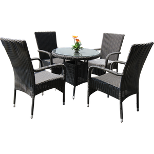 Niddrie 5 Piece Outdoor Wicker Coffee Set
