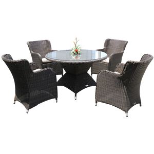 Ormond 5 Piece Outdoor Wicker Round Table Dining Set