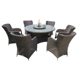 Richmond 8 Piece Outdoor Wicker Round Table Dining Set - DECOR STAR
