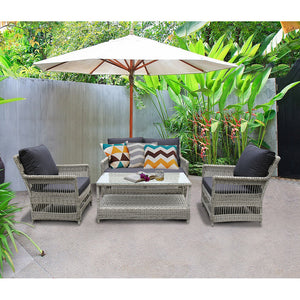 PRE-ORDER EAGLEMONT - Elegant 4 Seater Outdoor Rectangle Coffee Table Lounge Set - Furniture Star Direct