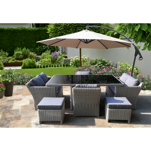 PRE-ORDER ELWOOD - Premium 8 Seater Outdoor Wicker Rectangle Table Dining Set - Furniture Star Direct
