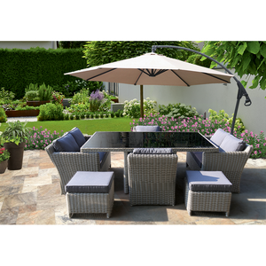 ELWOOD - Premium 8 Seater Outdoor Wicker Rectangle Table Dining Set