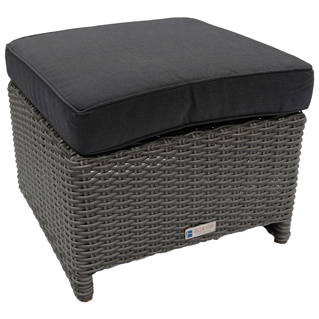 ELWOOD - Outdoor Wicker Ottoman Footstool - Furniture Star Direct