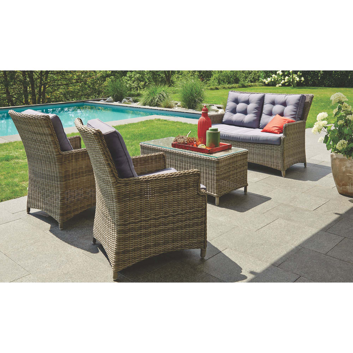 ESSENDON - High Quality 4 Seater Wicker Rectangle Coffee Table Lounge Set