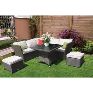 HAMPTON - Stylish Outdoor Wicker Square Table Dining Lounge Set