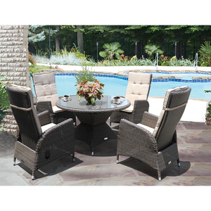 HAWTHORN - 5 Piece Outdoor Wicker Recliner Chair Dining Set