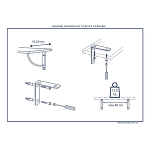 2X STEP 145 - Wall Mounted Shelf Brackets with hardware - Furniture Star Direct