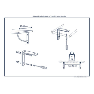 2x ARCH 195 - Wall Mounted Shelf Brackets with hardware - Furniture Star Direct