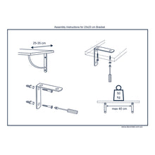 2x SWING 230 - Wall Mounted Shelf Brackets with hardware