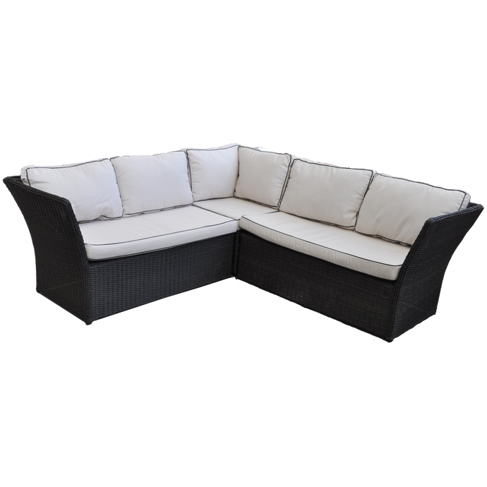 HAMPTON - Outdoor Wicker Corner Lounge with Ottomans Footstools - Furniture Star Direct