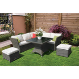 Carlton 6 Seater Outdoor Wicker Dining Lounge Set - DECOR STAR