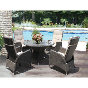 HAWTHORN - 5 Piece Outdoor Recliner Dining Set