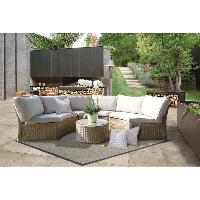 MALVERN - Outdoor Wicker Relaxing Modular Round Lounge Set