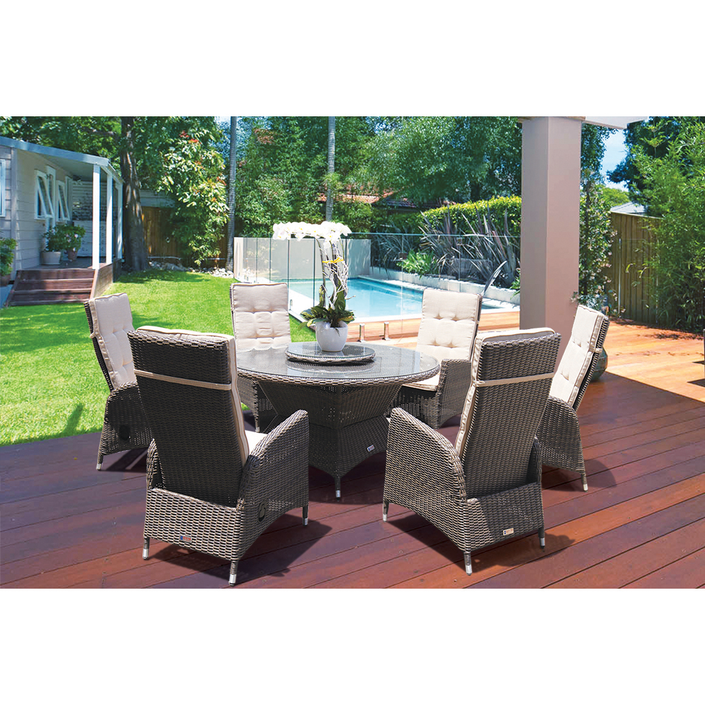 PRE-ORDER McKINNON - 7 Piece Outdoor Wicker Recliner Dining Set with Lazy Susan - Furniture Star Direct