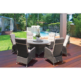 McKINNON 8 Piece Outdoor Wicker Recliner Chair Dining Set - DECOR STAR