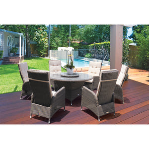 McKINNON - 7 Piece Outdoor Wicker Recliner Dining Set with Lazy Susan