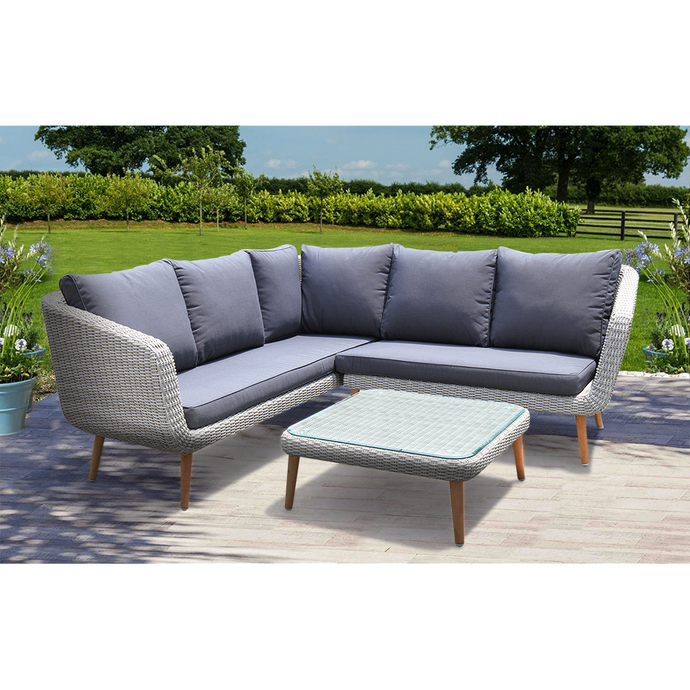 MITCHAM - Fashionable 5 Seater Timber Wicker Corner Lounge Set