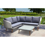 Mitcham 5 Seater Outdoor Timber Wicker Lounge Set - DECOR STAR