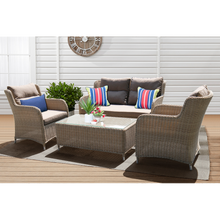 MONT ALBERT - Elegant 4 Seater Wicker Rectangle Coffee Table Lounge Set
