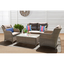 PRE-ORDER MONT ALBERT - Elegant 4 Seater Wicker Rectangle Coffee Table Lounge Set - Furniture Star Direct