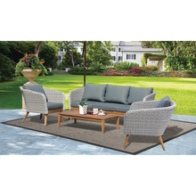 MORNINGTON - 5 Seater Outdoor Timber Table Wicker Lounge Set - Furniture Star Direct