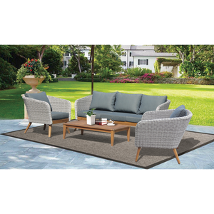 MORNINGTON - 5 Seater Outdoor Timber Table Wicker Lounge Set