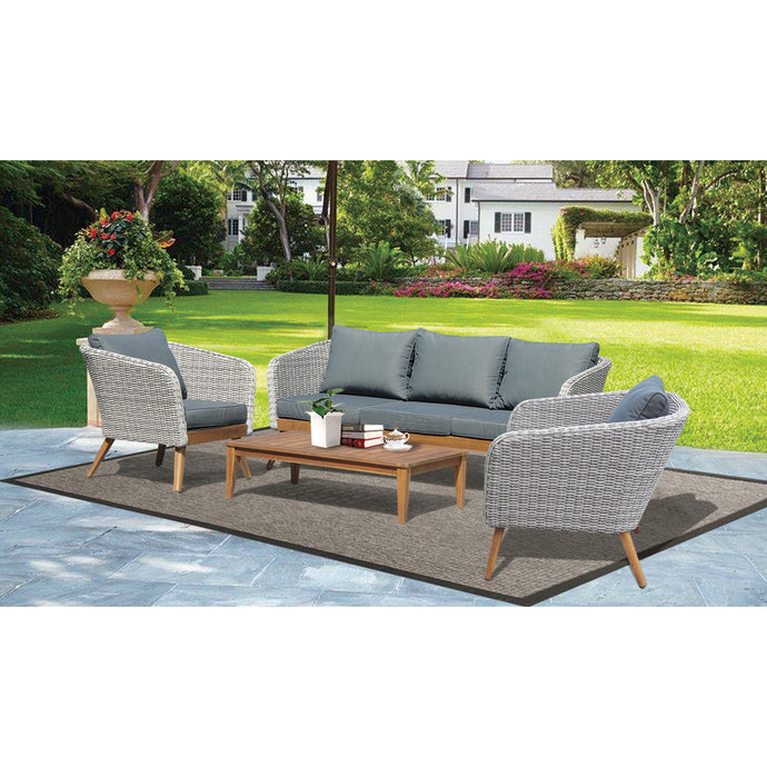 MORNINGTON - 5 Seater Timber Table Wicker Lounge Set