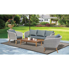 Mornington 5 Seater Outdoor Timber Wicker Coffee Set