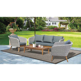 Mornington 5 Seater Outdoor Timber Table Wicker Lounge Set - DECOR STAR