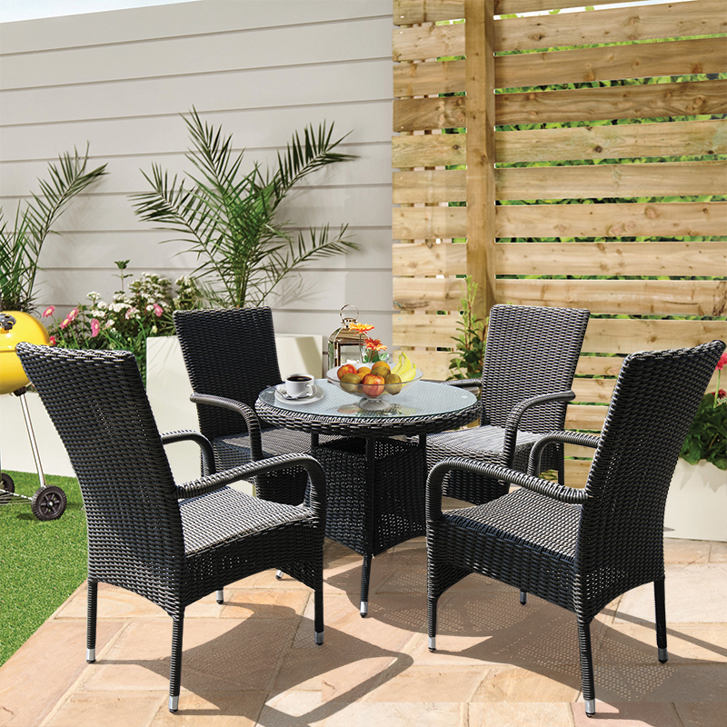 NIDDRIE - 5 Piece Outdoor Round Coffee Table and Stacking Armchair Set